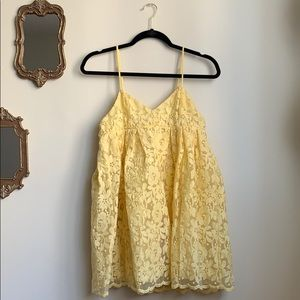 Nasty Gal Yellow Floral Mini Puffy Dress - Size S